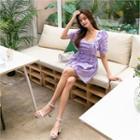 Ruffle-trim Shirred Minidress