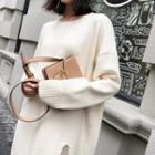 Plain Side Slit Long Sweater