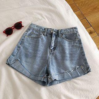 Frayed High-waist A-line Denim Shorts
