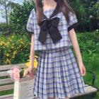 Balloon-sleeve Plaid Bow Blouse / A-line Skirt