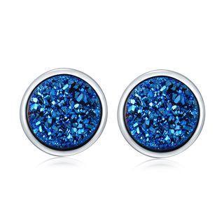 925 Sterling Silver Synthetic Blue Stone Earrings