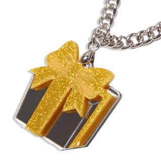 Sweet Yellow Glitter Present Chain Silver Necklace