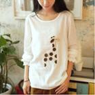 Giraffe Appliqu  Long Sleeve Top