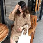 Long-sleeve Plaid Collared Shift Dress