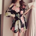 Floral Print Frilled Strap Dress