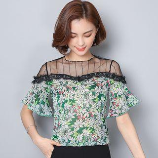 Mesh Panel Floral Print Short-sleeve Top