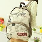 Lettering Printed Canvas Backpack