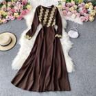 Lace Printed Long-sleeve Maxi Dress