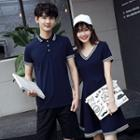 Couple Matching Contrast Trim Short-sleeve Polo / V-neck Short-sleeve Dress