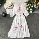Embroidered Midi Chiffon Dress