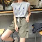 Lettering Sleeveless Top / Wide Leg Shorts