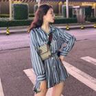 Set: Long-sleeve Striped Shirt + Striped Shorts