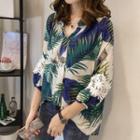 3/4-sleeve Lace Panel Print Shirt