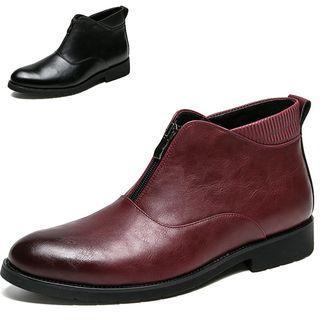 Faux Leather Zipper Boots