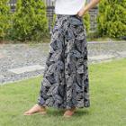 Band-waist Pattern Wide-leg Pants Black - One Size