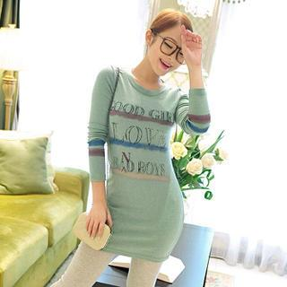 Long-sleeve Printed T-shirt Dress