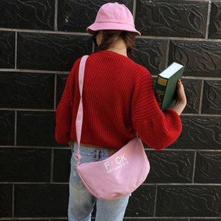 Lettering Canvas Crossbody Bag