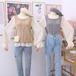 Set: Mock-neck Chiffon Top + Knit Vest