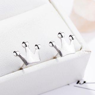 925 Sterling Silver Crown Stud Earrings 925 Silver - One Size