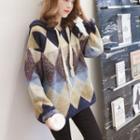 Color Block Argyle Knit Hoodie / Camisole Top