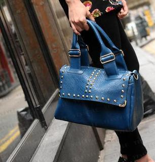 Snake Print Studded Boston Bag Blue - One Size