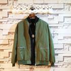 Applique Loose-fit Zip Jacket
