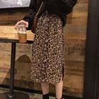 Leopard Pattern A-line Skirt As Shown In Figure - One Size
