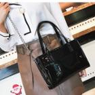 Faux Leather Tote With Chain Strap