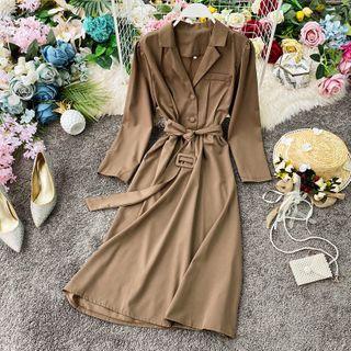 Long-sleeve Beled Midi A-line Dress
