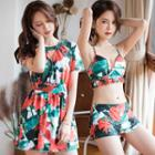 Set: Patterned Bikini + Dress