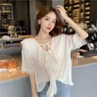 Short-sleeve Lace-up Chiffon Blouse White - One Size