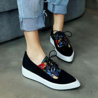 Genuine Leather Platform Floral Lace-up Shoes