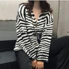 Striped V-neck Cardigan As Shown In Figure - One Size