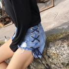 Lacing Side Distressed Denim Shorts