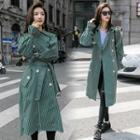 Striped Double-breasted Trench Coat