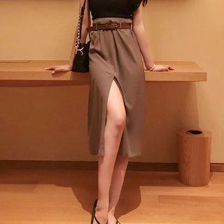 Split Hem A-line Skirt