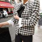 Faux Pearl Button Double-breasted Houndstooth Jacket