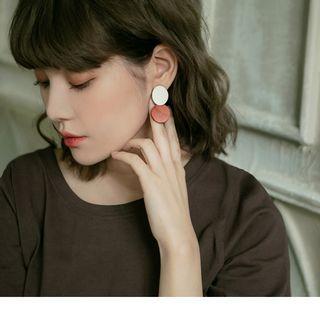Two Tone Disc Drop Earrings Orange - F