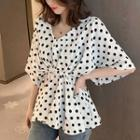 Bell-sleeve V-neck Dotted Chiffon Blouse