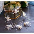 Faux Pearl Floral Bridal Hair Pin Set Gold - One Size