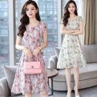 Floral Cap-sleeve A-line Chiffon Dress