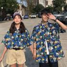 Couple Matching Floral Elbow-sleeve Shirt