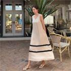 Sleeveless Pipe-trim Maxi Dress