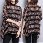 Elbow-sleeve Floral Patterned Chiffon Top