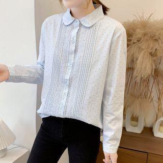 Polka Dot Lace Trim Long-sleeve Shirt