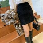 Fleece A-line Miniskirt