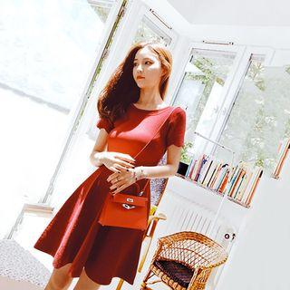 Perforated Scallop Trim Short Sleeve Knit Dress