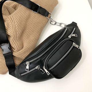 Chain Detail Zipper Belt Bag