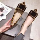 Buckled Leopard Print Pointed Faux Suede Flats