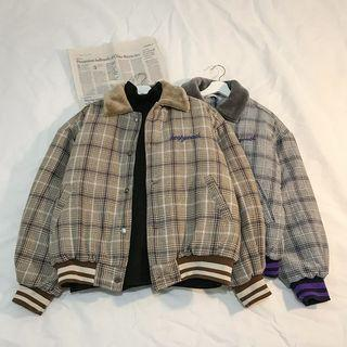 Couple Matching Buttoned Plaid Coat